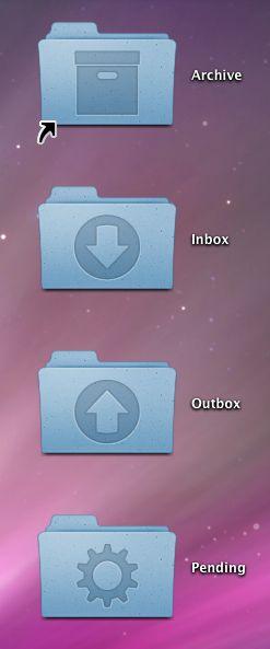 4 iconos para carpetas GTD en OS X Leopard