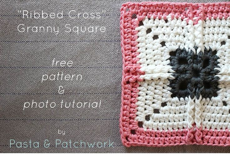 """Ribbed Cross"" Granny Square - Free Pattern"