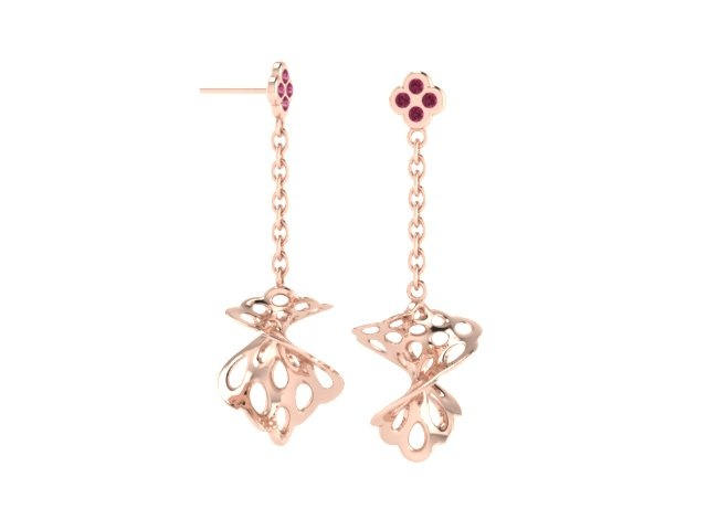 Claire Macfarlane - Red Gold Honeycomb Earrings (CAD Render)