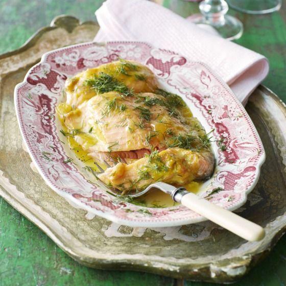 Pittige zalmfilet met lemoncurd en dille - Voor deze heerlijke zalm uit de oven hoef je niet lang in de keuken te staan. #recept #vis #JumboSupermarkten