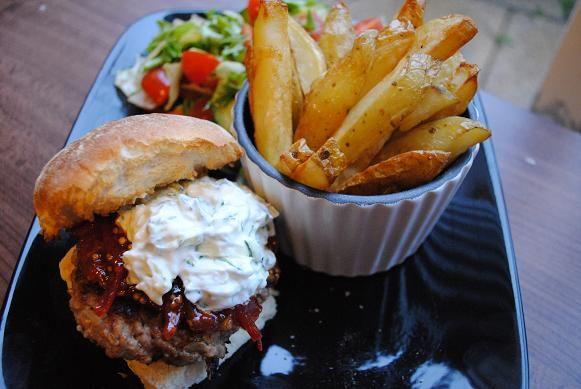 Cumin Spiced Lamb Burger With Tzatziki & Tomato Chili Jam.