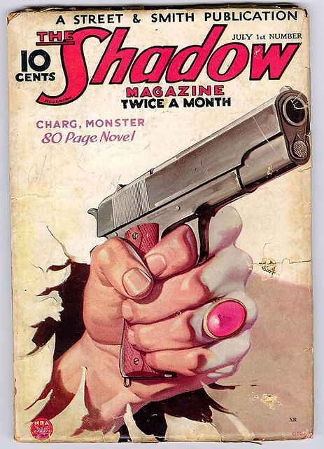 """No. 57 """"Charg, Monster""""  Vol. 10, No. 3  Published: 07/01/34  Author: Walter Gibson. This is the next on my list to read! Sounds like a hum dinger! http://home.comcast.net/~deshadow/reviews/shadow057.html"""