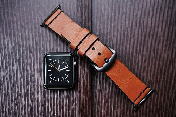 Custom Made Vintage Leather Strap incl. Lugs Adapter for Apple Watch (Steel,Alu,Space Gray) 42mm or 38mm BF93-D60 incl Buckle