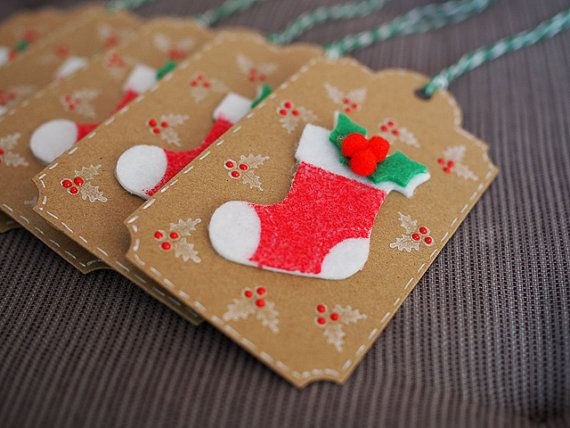 Red Stocking Christmas Gift Tag
