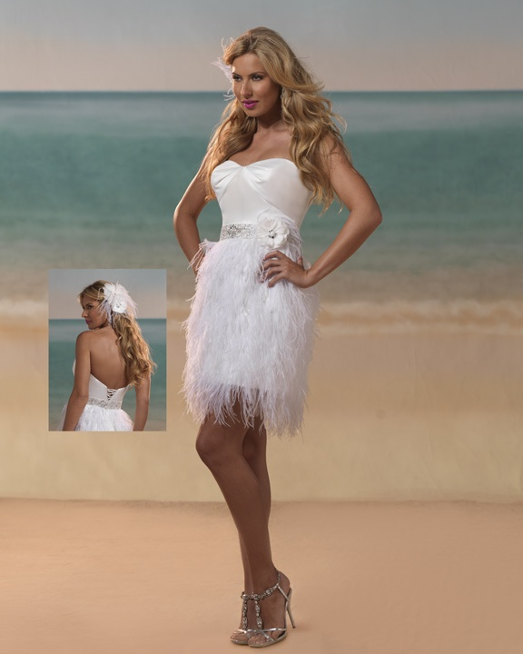 reception  or destination wedding dress....feathers! Made for dancing!
