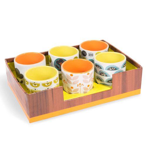 Coffret 6 tasses en faïence multicolores JUNO | Maisons du Monde