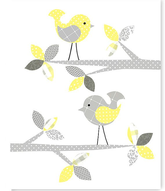Gray and Yellow Nursery Art Bird Nursery by SweetPeaNurseryArt