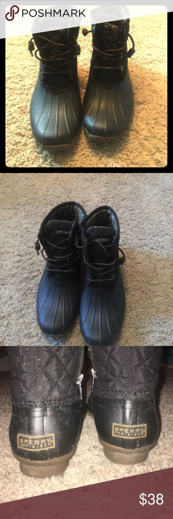 Black Sperry Rain boots. Good condition. Black quilted on top. Great for rain or snow. Sperry Top-Sider Shoes Winter & Rain Boots