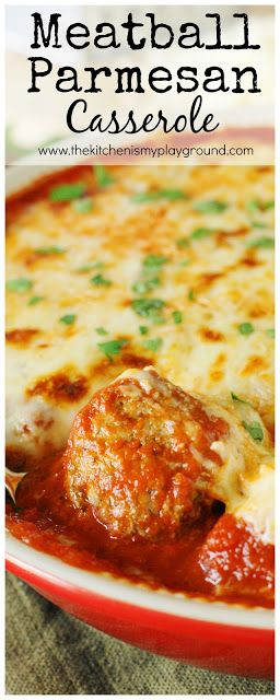 Easy Meatball Parmesan Casserole ~ Bake up just five simple ingredients to enjoy this cheesy, saucy goodness!  Spoon over noodles or warm garlic bread slices for one super easy & satisfying meal.  #5ingredients #meatballs #easyrecipes www.thekitchenismyplayground.com