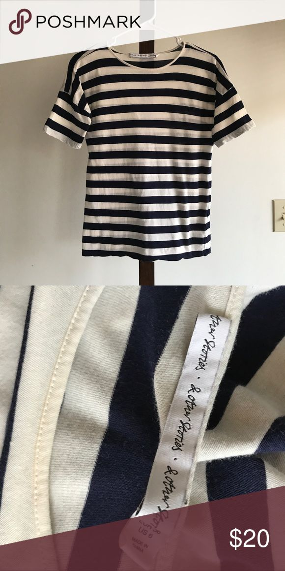 & Other Stories Striped Tee Navy and white striped tee from & Other Stories. Size 6. 100% cotton. In excellent condition. & Other Stories Tops Tees - Short Sleeve