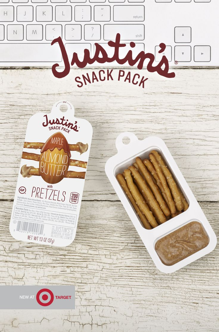 Snacks to fuel your daily grind. Justin's all new gluten-free pretzel and almond butter snack packs! Naturally delicious, conveniently nutritious.