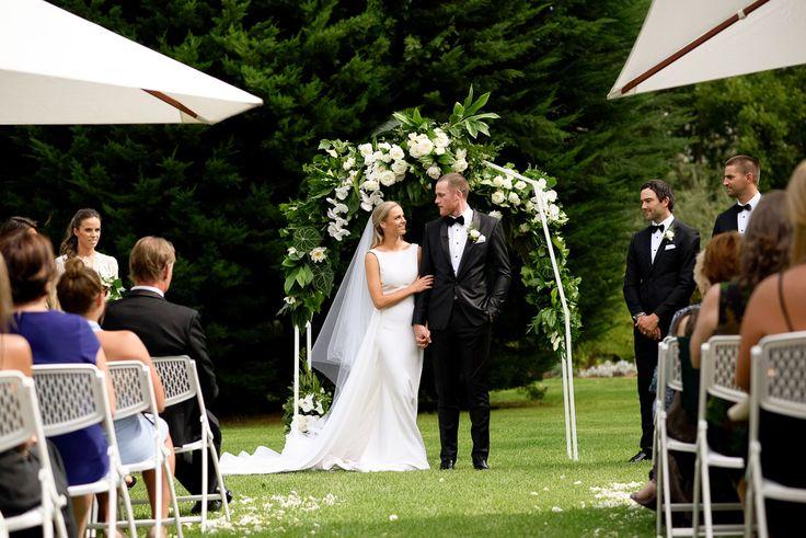 Sarah & Jarryd Roughead's elegant garden wedding.  Celebrant: Sally Hughes  Image: Blumenthal