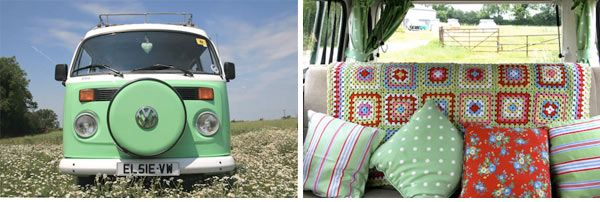 My husband and I double-dated with friends in a VW bus just like this one. Precious!