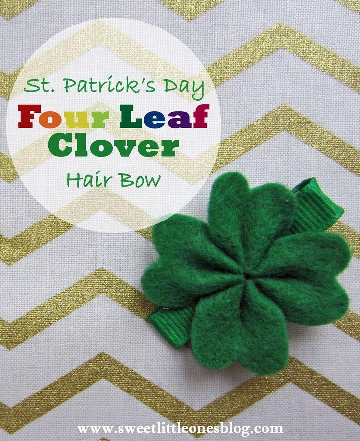 DIY St. Patrick's Day Shamrock / Four Leaf Clover Hair Bow / Clip / Barrette - www.sweetlittleonesblog.com
