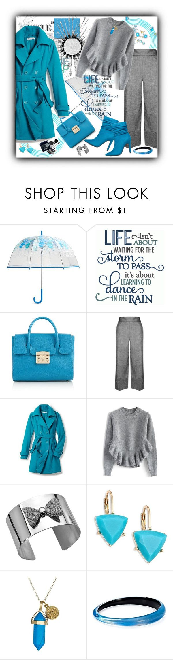 """Rainy Day/Trench"" by kazza-smith ❤ liked on Polyvore featuring Vera Bradley, Furla, Topshop, New York & Company, Chicwish, Braven, ABS by Allen Schwartz, Dee Berkley and Alexis Bittar"