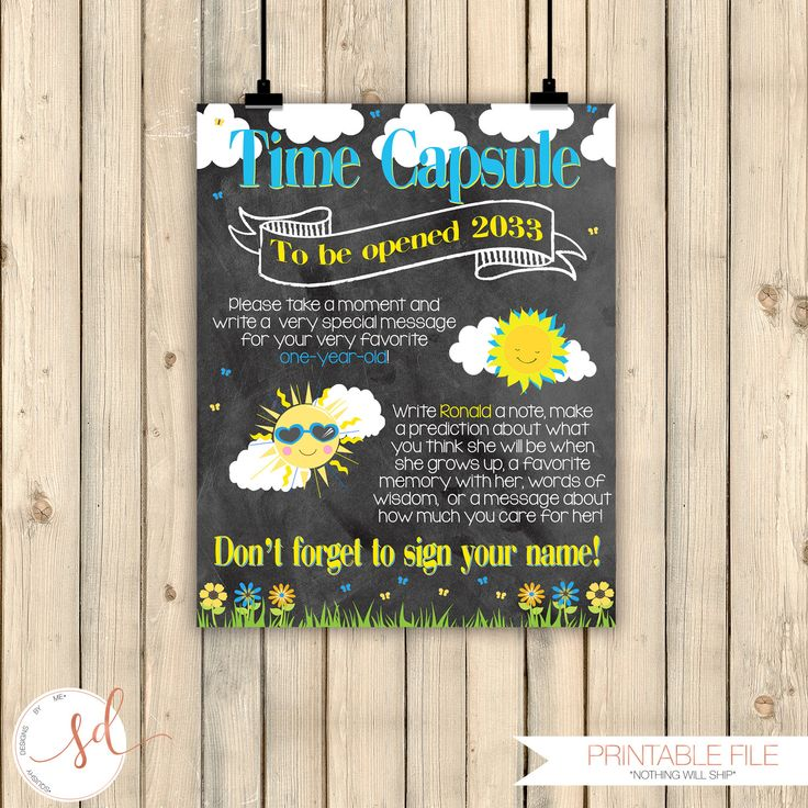 Sunshine Birthday Time Capsule Chalkboard Poster, Girl Blue Yellow First 1st Birthday, Little Sunshine Birthday Party Decorations, Digital by SquishyDesignsbyMe on Etsy