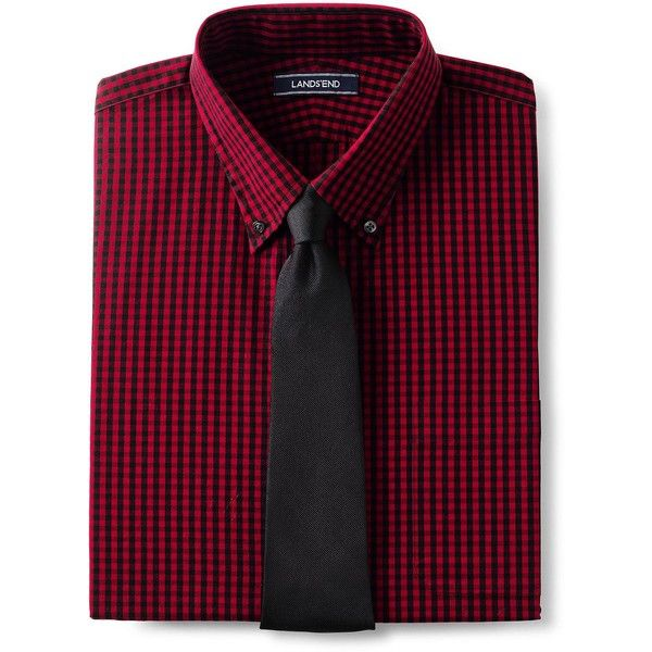 Lands' End Men's Big & Tall 40's Poplin Dress Shirt ($50) ❤ liked on Polyvore featuring men's fashion, men's clothing, men's shirts, men's dress shirts, red, lands end mens dress shirts, mens big and tall shirts, mens oxford dress shirts, mens big and tall dress shirts and mens red dress shirt