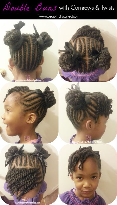 Beautifully Curled: Double Buns With Cornrows and Twists on Natural Hair