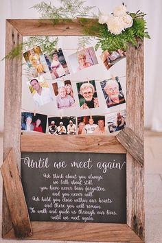 In Memory Wedding Display // family photos, rustic, boho, chalkboard, clothesline