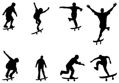 Skate Boarding Skater Silhouettes Vector