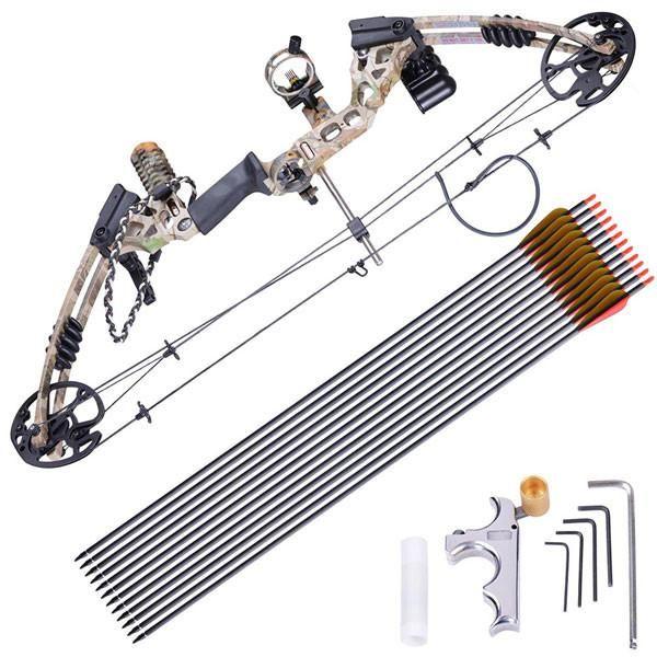 Archery Right Hand Compound Bow Set w/ 12 Carbon Arrows Color Opt
