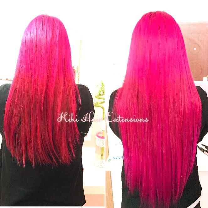 Hair extensions Pink Fusion long Hair,Remy