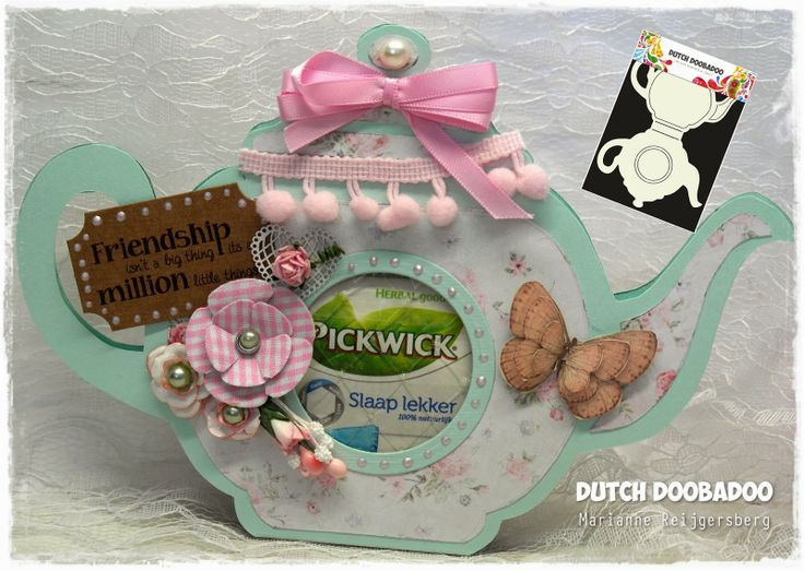 teapot card by Marianne.... using template from Dutch Doobadoo.
