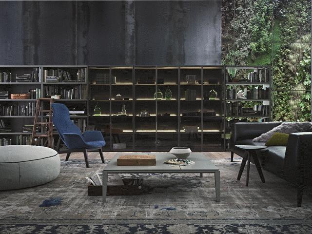POLIFORM: Wall System bookcase, Metropolitan sofa, Ventura lounge armchair, Brasilia coffee table and Elise pouf