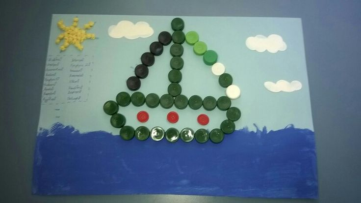 A boat-craft with bottles cups and buttons