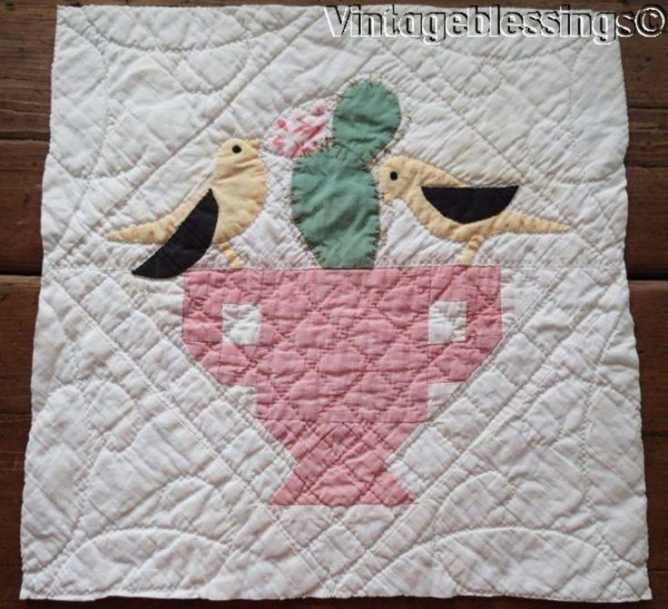 Cottage Charm Vintage 30s Birds Cactus QUILT Pc Block Make Pillow