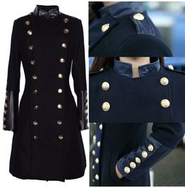 Women Military Style Coat Double Brested Stand Collar Women Fashion