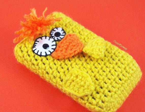 Blackberry Bird case yellow lemon wool crochet cozy by cocodollz, €9.80