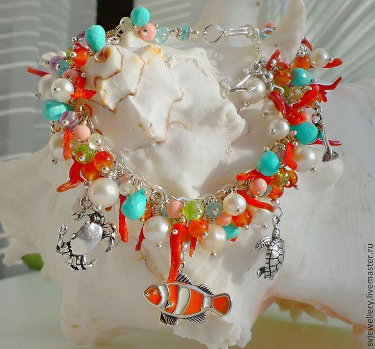 """Купить Серебряный браслет """"В поисках Немо"""". Рыбка Клоун. - пышный браслет, браслет, подарок"""