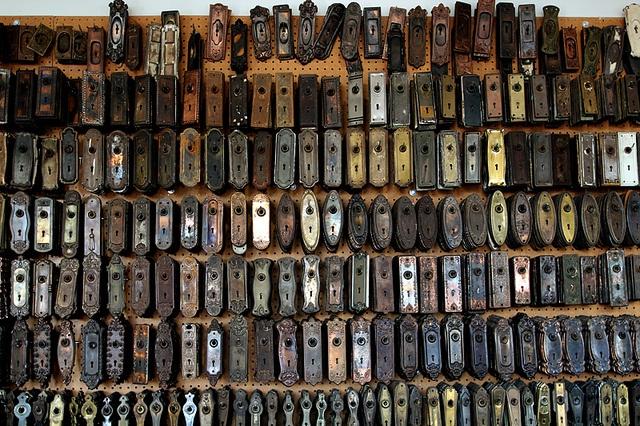 A Wall Of Vintage Metal Doorknob Plates At An Architectural Salvage Shop. Antique  Door KnobsAntique ...