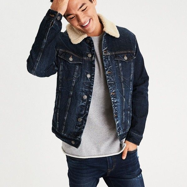 AE Faux Sherpa Lined Denim Jacket ($90) ❤ liked on Polyvore featuring men's fashion, men's clothing, men's outerwear, men's jackets, blue, mens collared jacket, mens blue jacket, mens distressed leather jacket, mens faux leather jacket and mens blue jean jacket