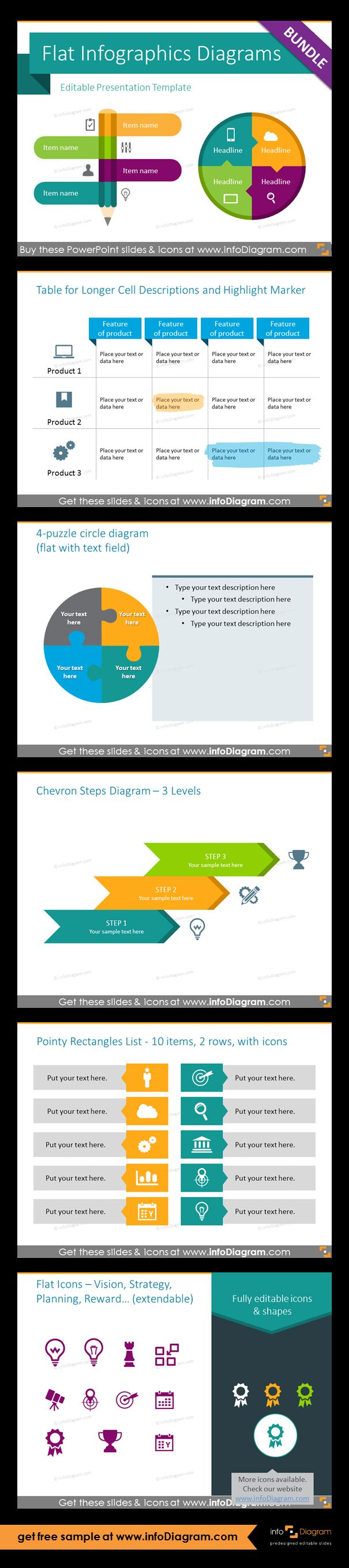 Infographics PowerPoint templates with modern flat design editable diagrams and vector icons. Fully editable style, size and colors. Table template for longer cell description and marker, 4-puzzle circle diagram, chevron staircase diagram for 3 elements, pointy rectangles list for 10 items in two colors, vision,  index of strategy, planning and reward flat pictograms.