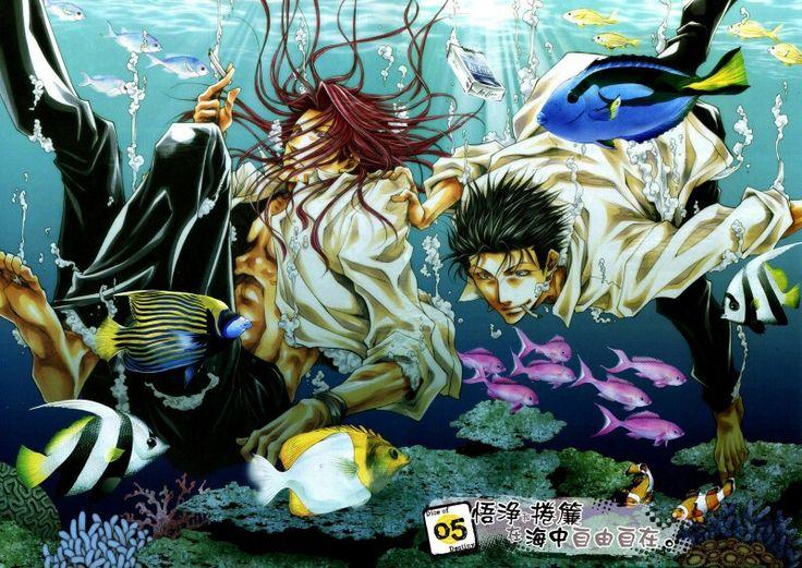 It seem Gojyo and... Dokugakuji? He isn't Ken Ren (if he's a Saiyuki's character)