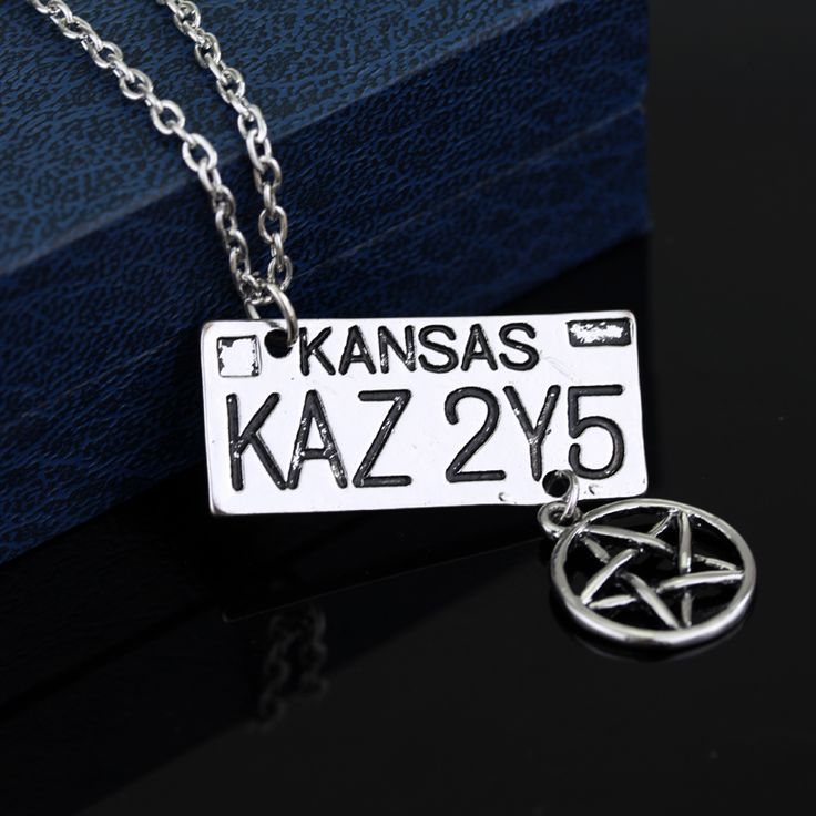 5pcs/lot Supernatural Necklace Dean of the License Plate Necklace Long Chain Necklace Collar for men Jewelry