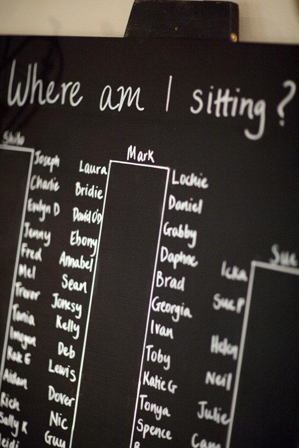 Very simple visual blackboard seating chart.