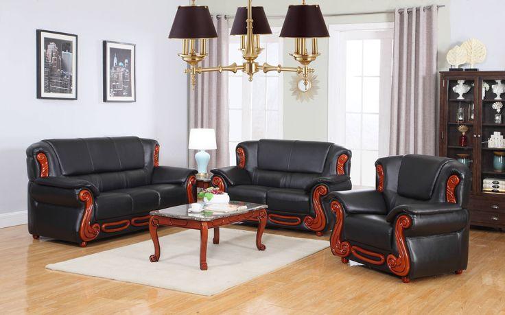 Bella Rich Cherry Black Brown Burgundy Bonded Leather Living Room Set