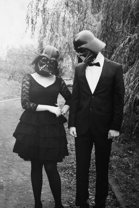 Don't be afraid to show off your interests! Take after this Darth Vader couple.