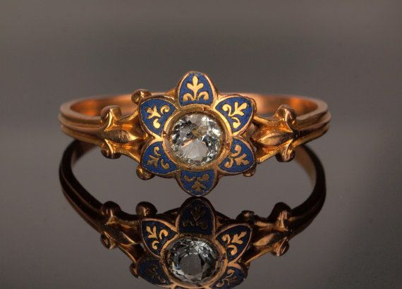 Georgian Enamel Mourning Ring with Pale Blue by BelmontandBellamy