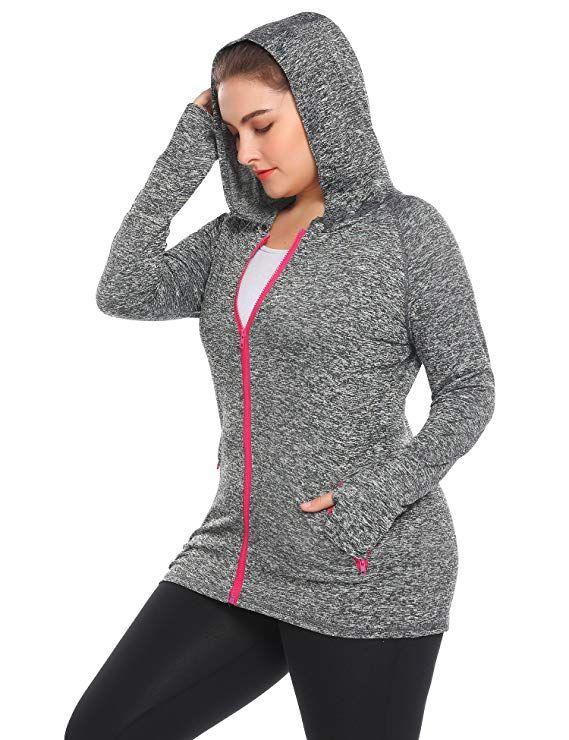 877523f3c4dd1 Amazon.com: Zeagoo Women Plus Size Workout Jacket Running Sports Hoodies  Yoga Jackets Coat Activewear with Thumb Holes(16W-24W): Clothing