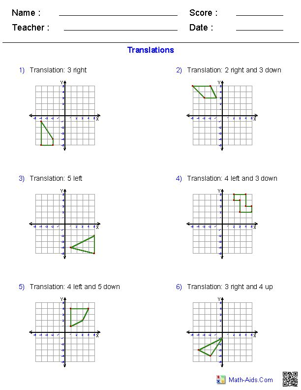 Translations Worksheets | Math-Aids.Com | Pinterest ...