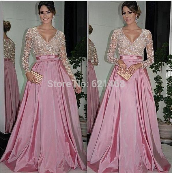 Hot 2015 uma linha profundo neck ver através cristais rosa tafetá vestido de noite muçulmano Prom vestido de baile em Vestidos de Noite de Casamentos e Eventos no AliExpress.com | Alibaba Group