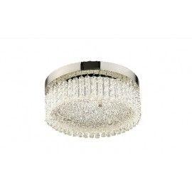 Plafon Helix de LED redondo com cristal asfour, Medidas: 30x12cm, Material: Metal e cristal, Cor: Cromado e transparente, LED 3000k 18w