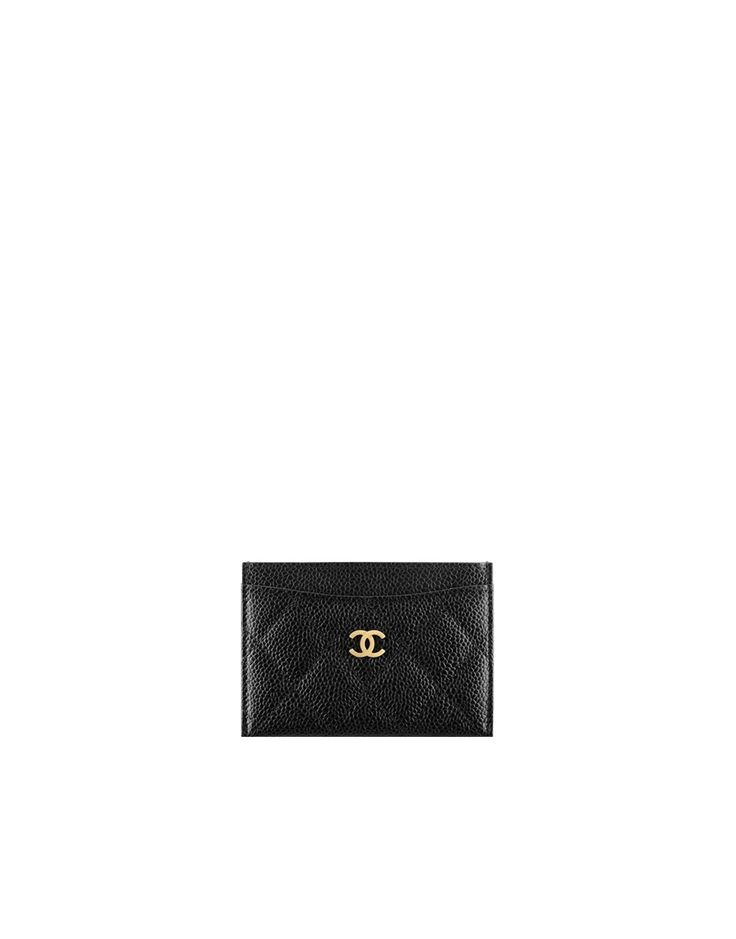 Classic card holder, grained calfskin & gold-tone metal-black & burgundy - CHANEL