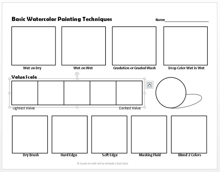 basic watercolor painting techniques worksheet watercolor pinterest art worksheets. Black Bedroom Furniture Sets. Home Design Ideas