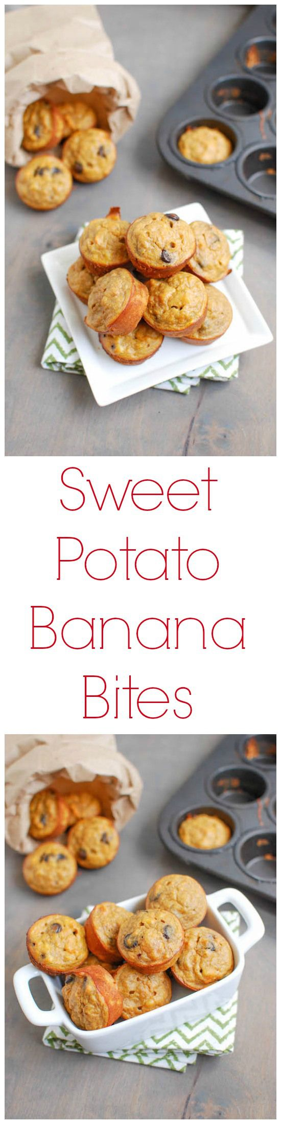 Sweet Potato Banana Bites. Ingredients: sweet potato, banana, nut butter, egg, cinnamon