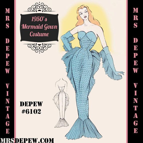 This is a digital draft-at-home pattern for a stunning French costume outfit from the 1950s. The mermaid costume is composed of a fitted gown with